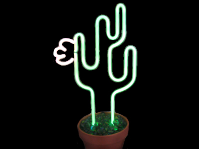 Neon Cactus in flower pot base